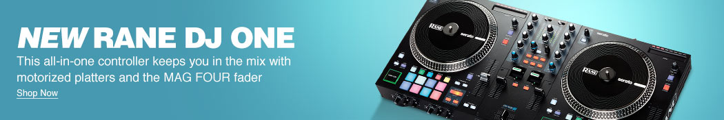 New Rane DJ ONE. This all-in-one controller keeps you in the mix with motorized platters and the MAG FOUR fader. Shop now.