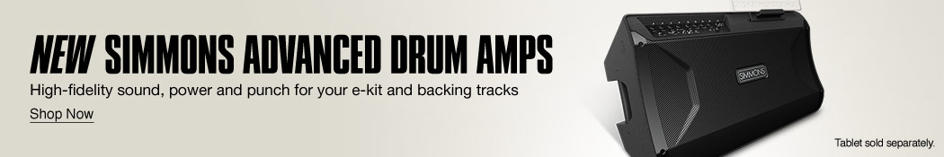 New Simmons Advanced Drum Amps. High-fidelity sound, power and punch for your e-kit and backing tracks. Shop now.