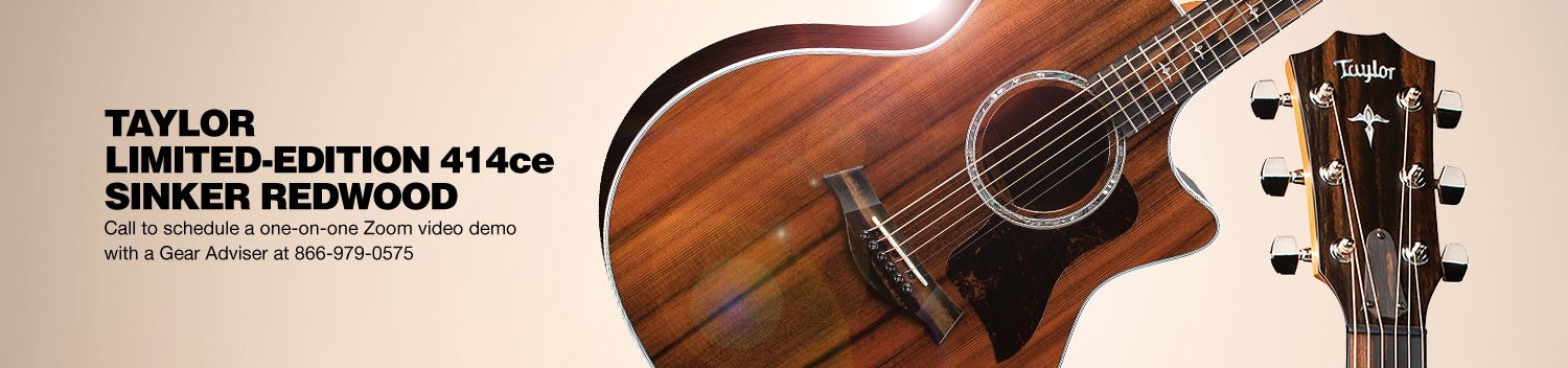 Taylor Limited-Edition 414ce Sinker Redwood. Call to schedule a one-on-one Zoom video demo with a Gear Adviser at 866-979-0575.